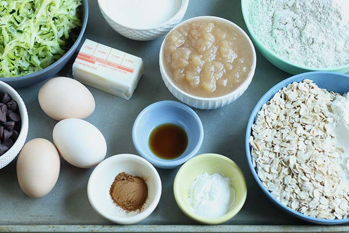 ingredients in healthy chocolate chip zucchini bread