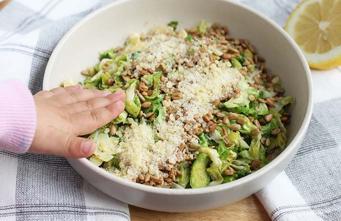 shaved sauteed brussels sprouts