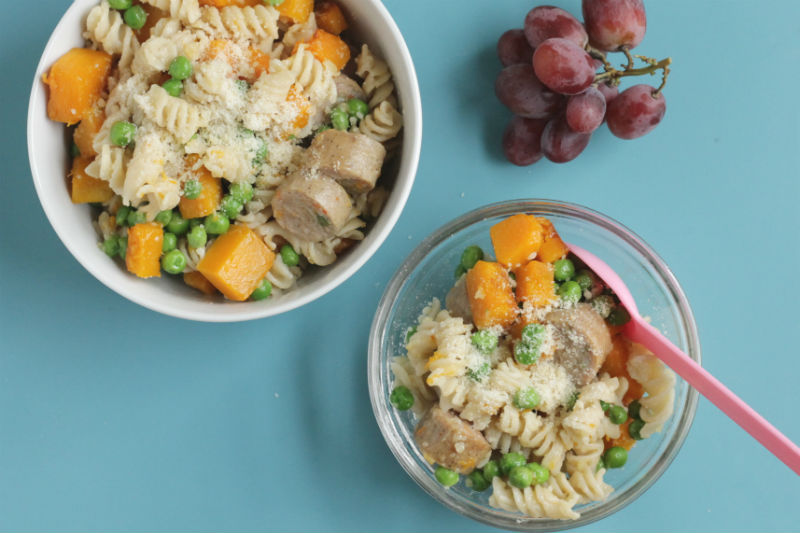butternut squash pasta with sausage and peas