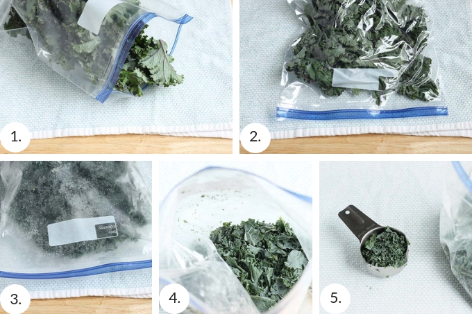 how to freeze greens for smoothies step by step