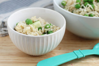 Baked Brown Rice Risotto with Peas and Zucchini