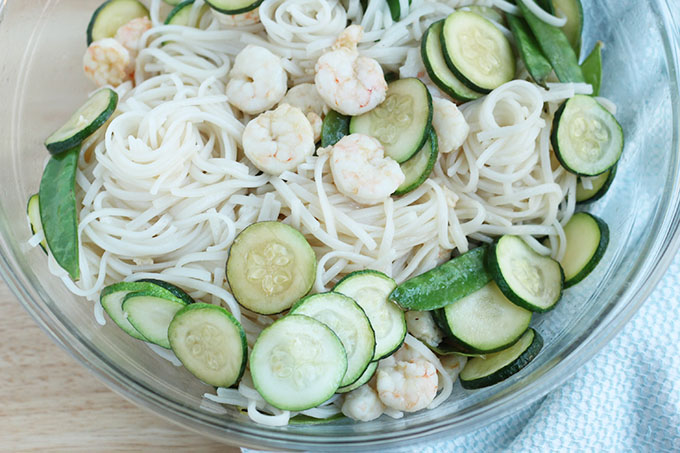 family style shrimp and noodles