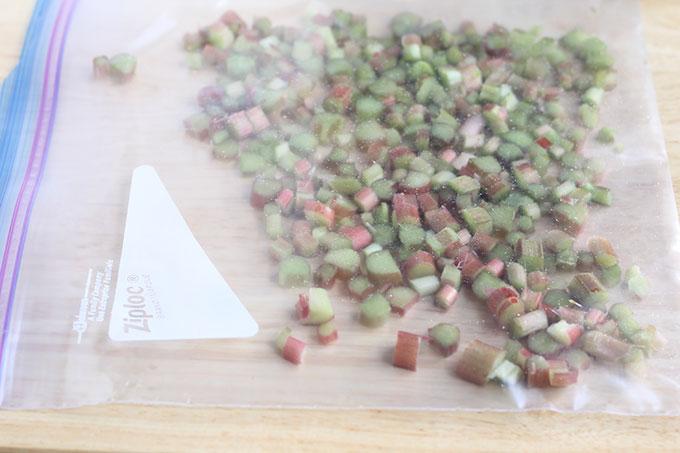 diced fresh rhubarb in freezer bag