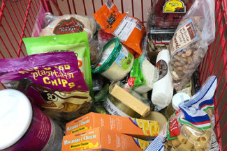 cart of groceries from Trader Joes