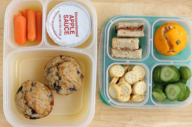 two easy kindergarten lunches in clear boxes
