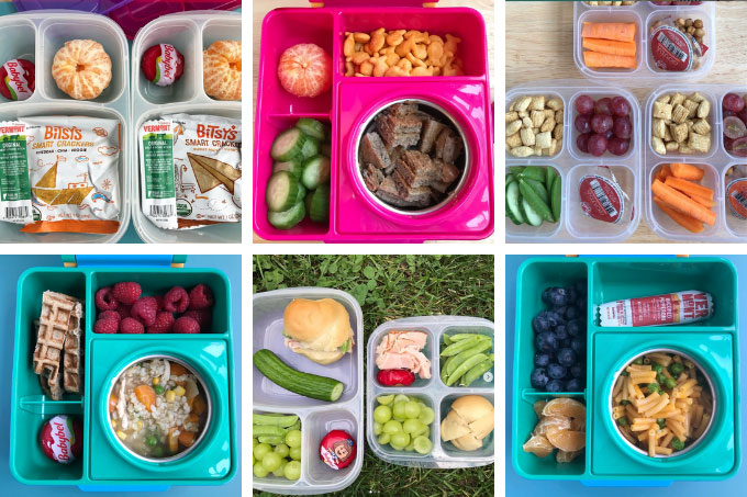 lunch box ideas for kids in grid of 6