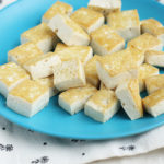 sesame tofu on blue plate