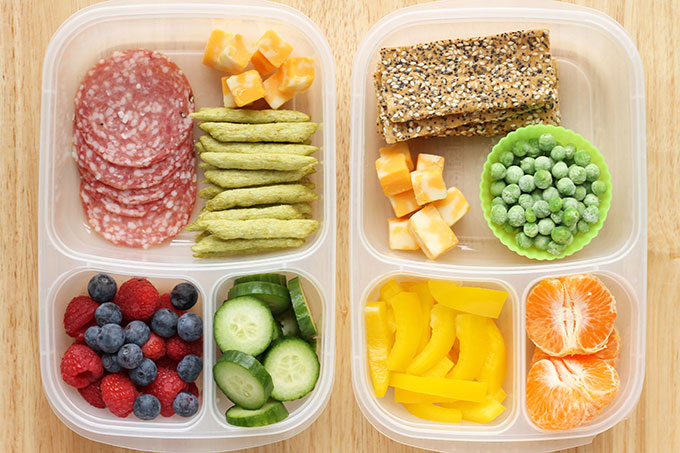 snack boxes for lunch on counter