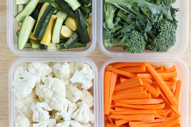 veggies in storage containers for meal prep