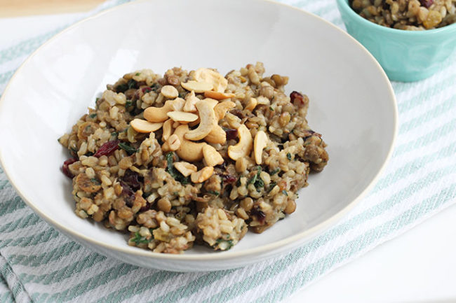 vegetarian lentils and rice in white bowl
